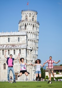 Teens Jumping in Pisa